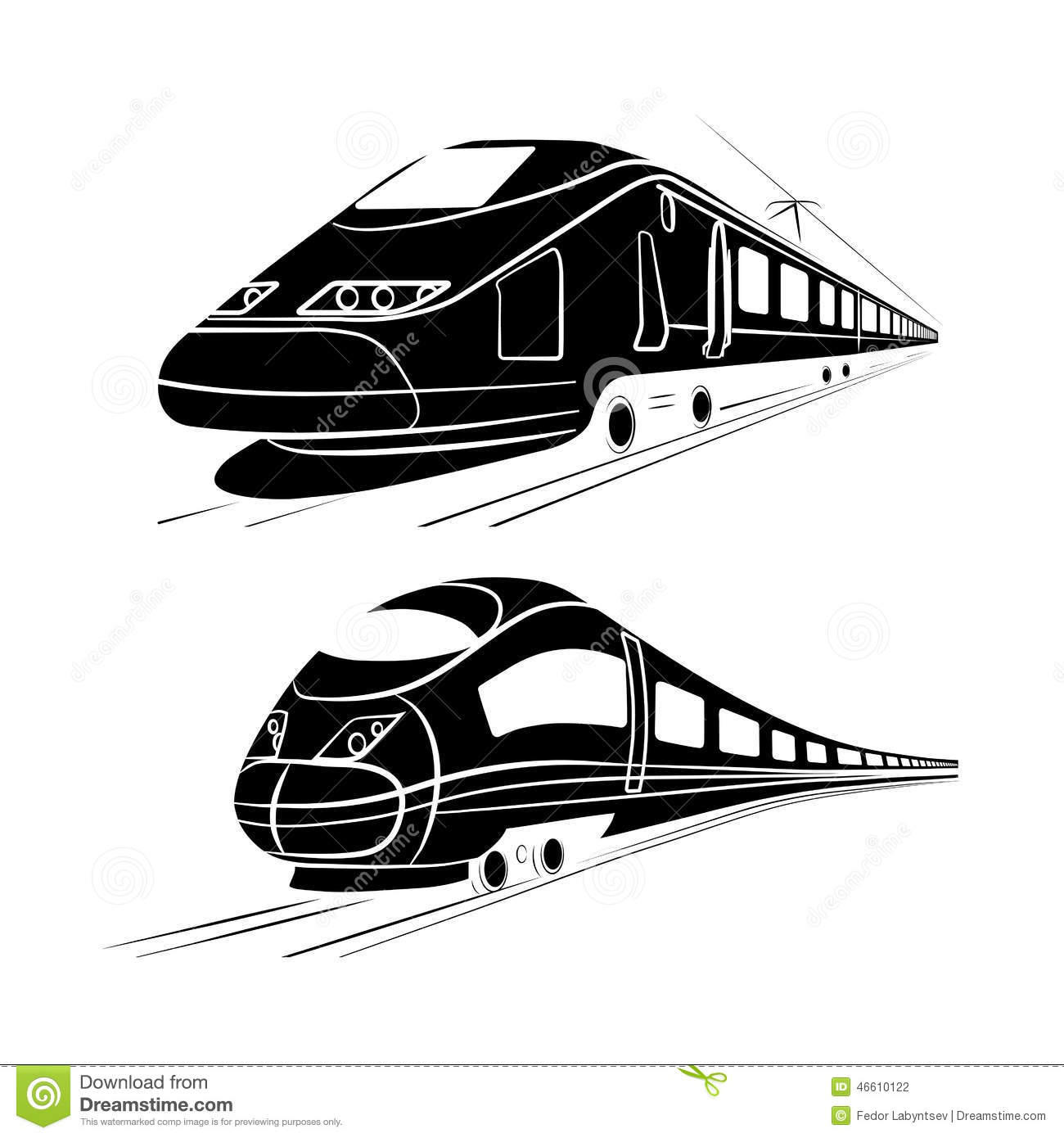 Monochrome Silhouette Of The High Speed Passenger Train