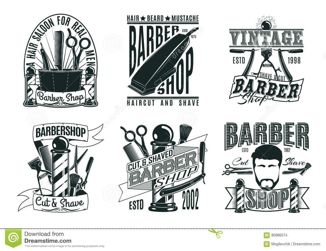 Head Hipster And Equipment For Barbershop Vector