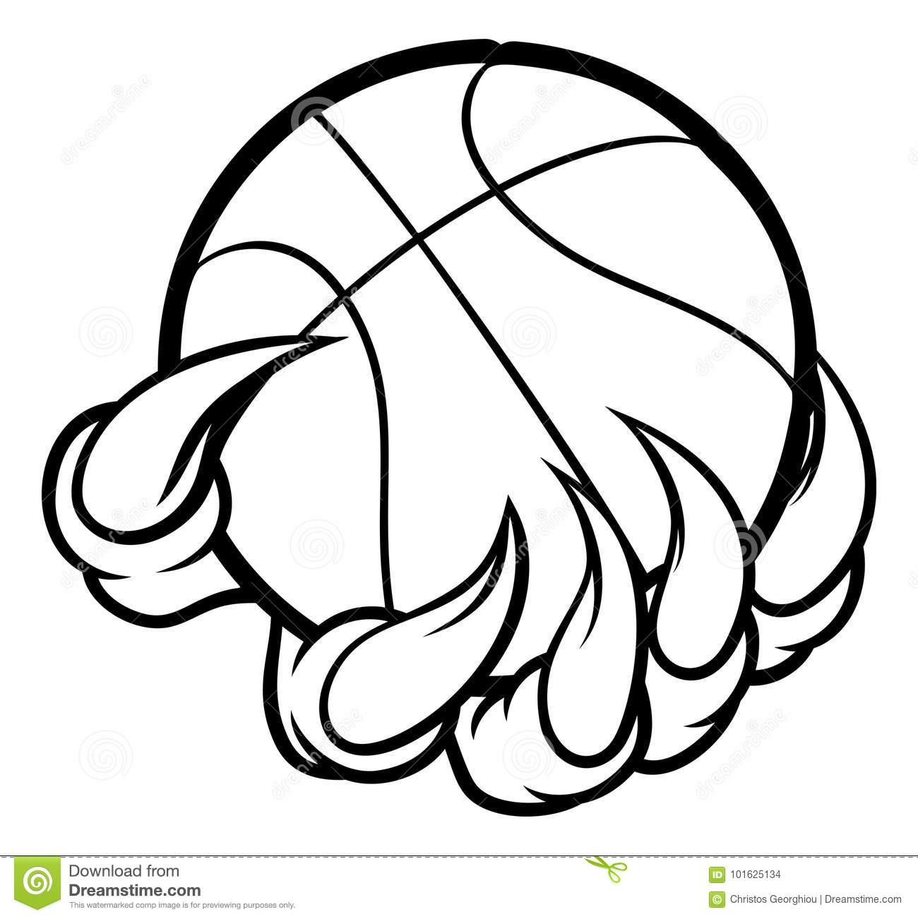 Monster Or Animal Claw Holding Basketball Ball Stock