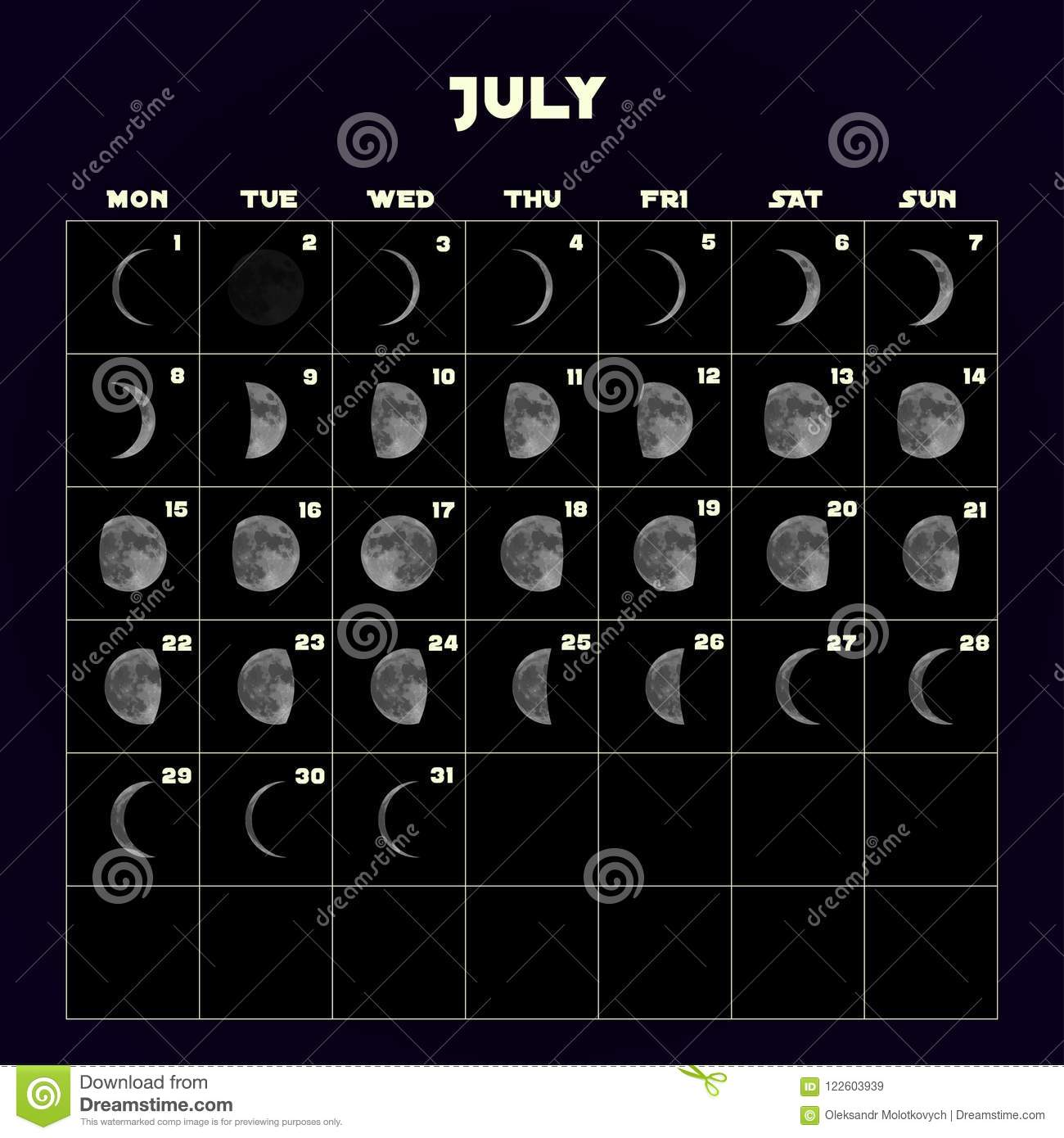 Moon Phases Calendar For With Realistic Moon July