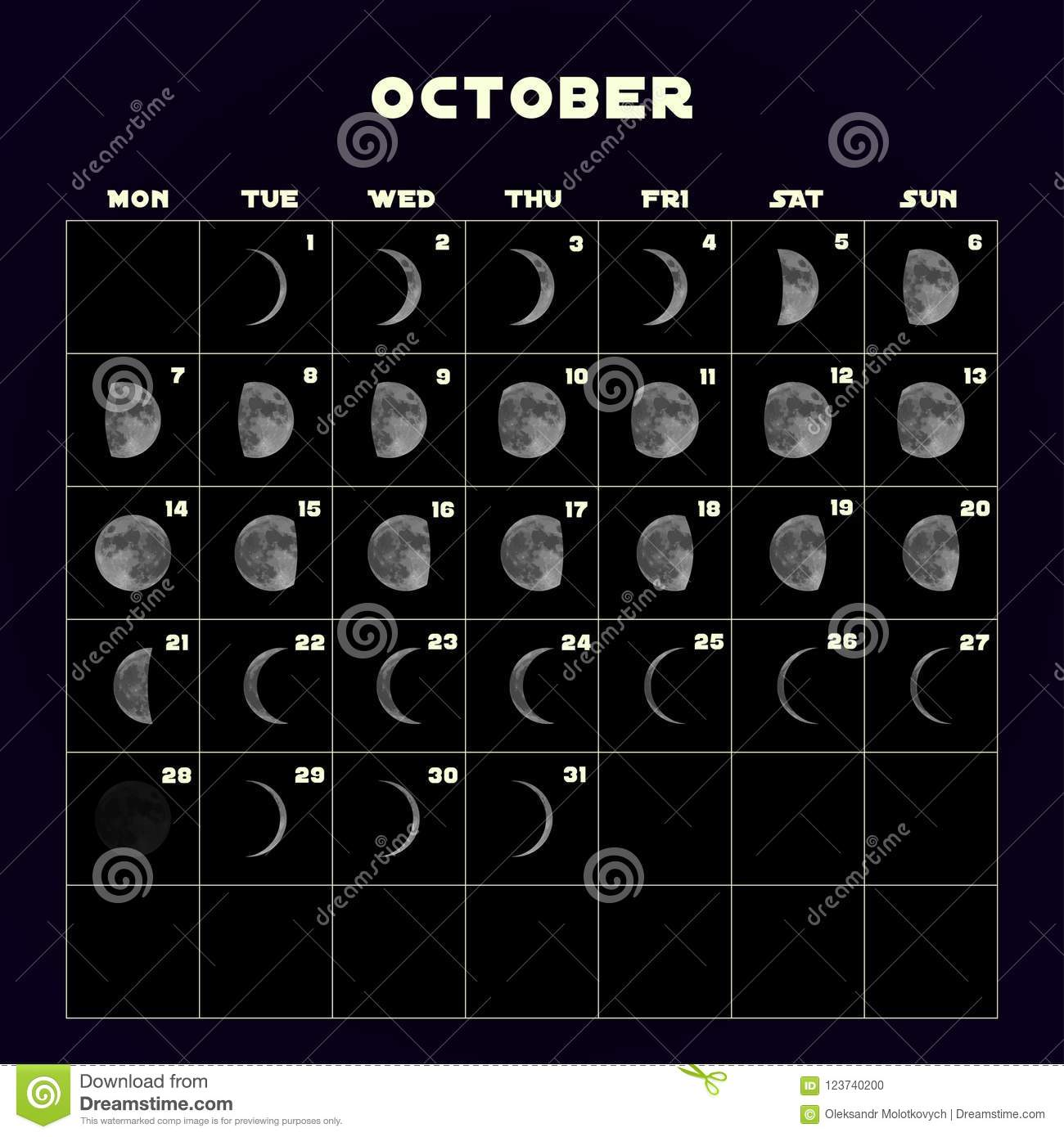 Moon Phases Calendar For With Realistic Moon October