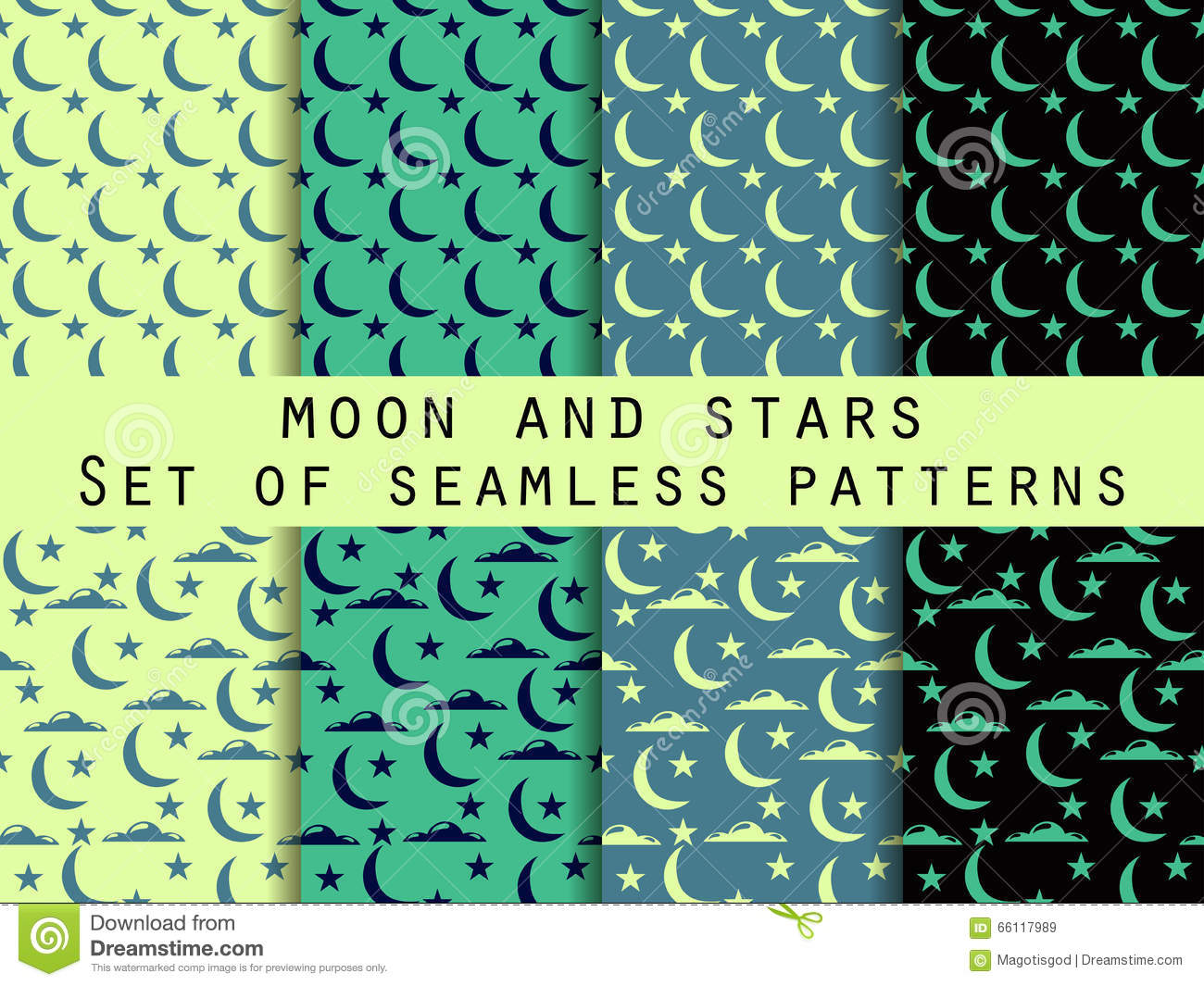 Moon Stars And Clouds Set Seamless Patterns Stock