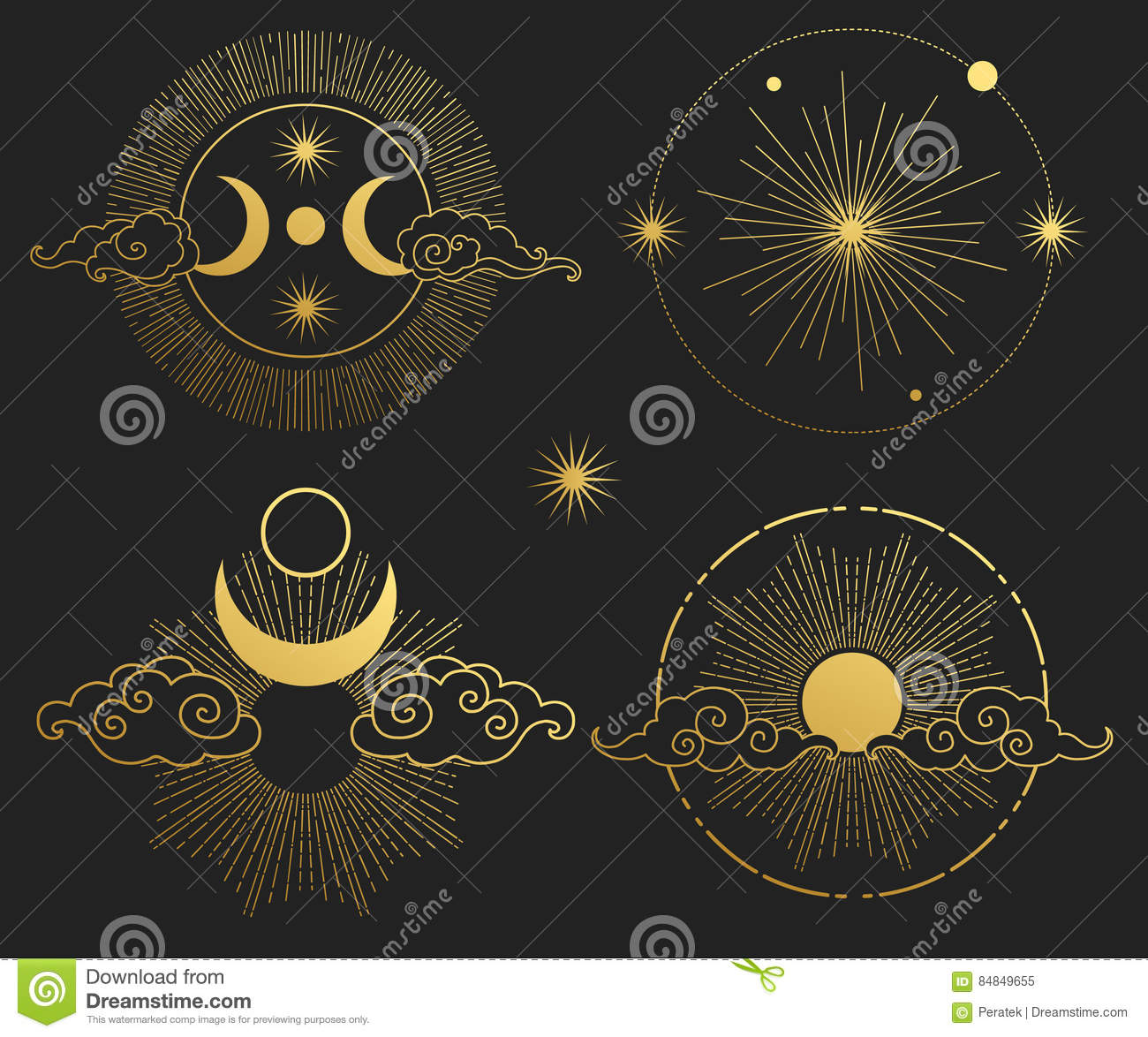 Moon Sun Planets And Stars Vector Templates Stock