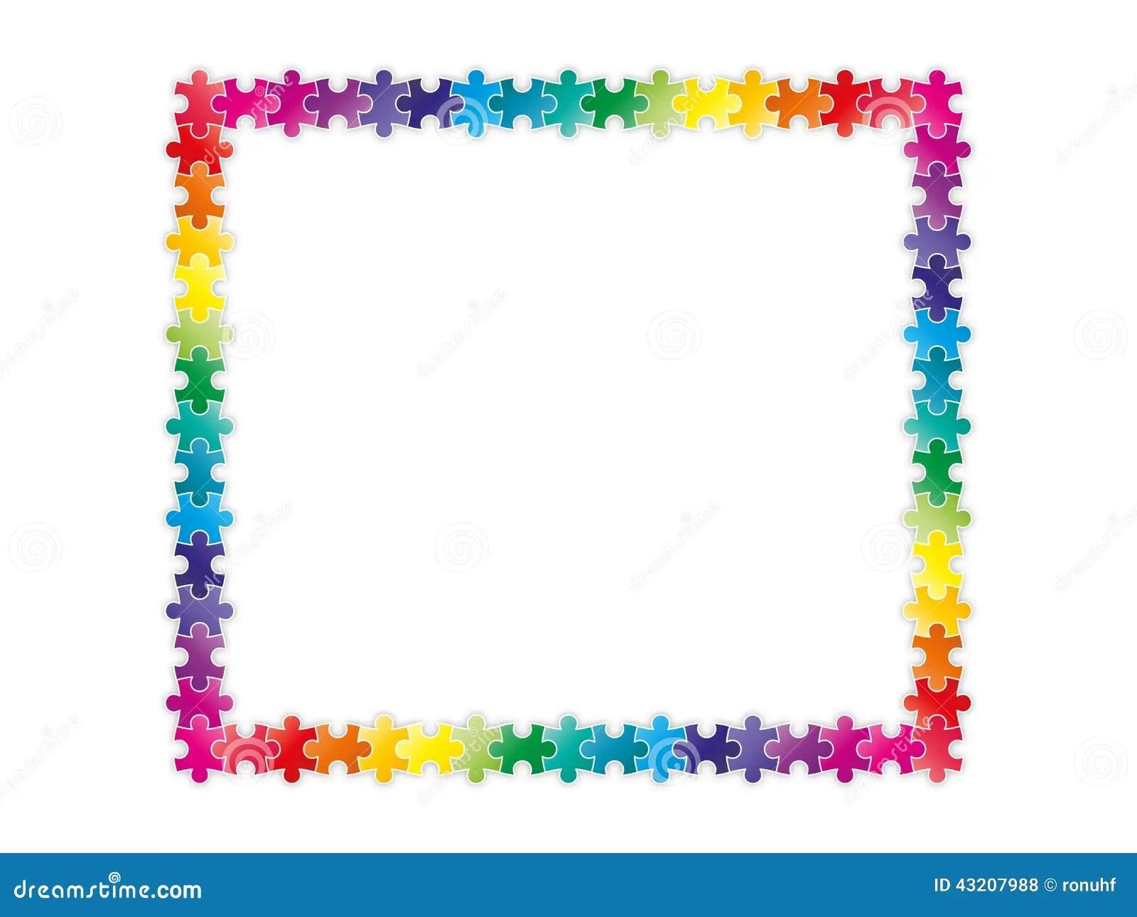Morceaux Colores De Puzzle D Arc En Ciel Formant Un Cadre