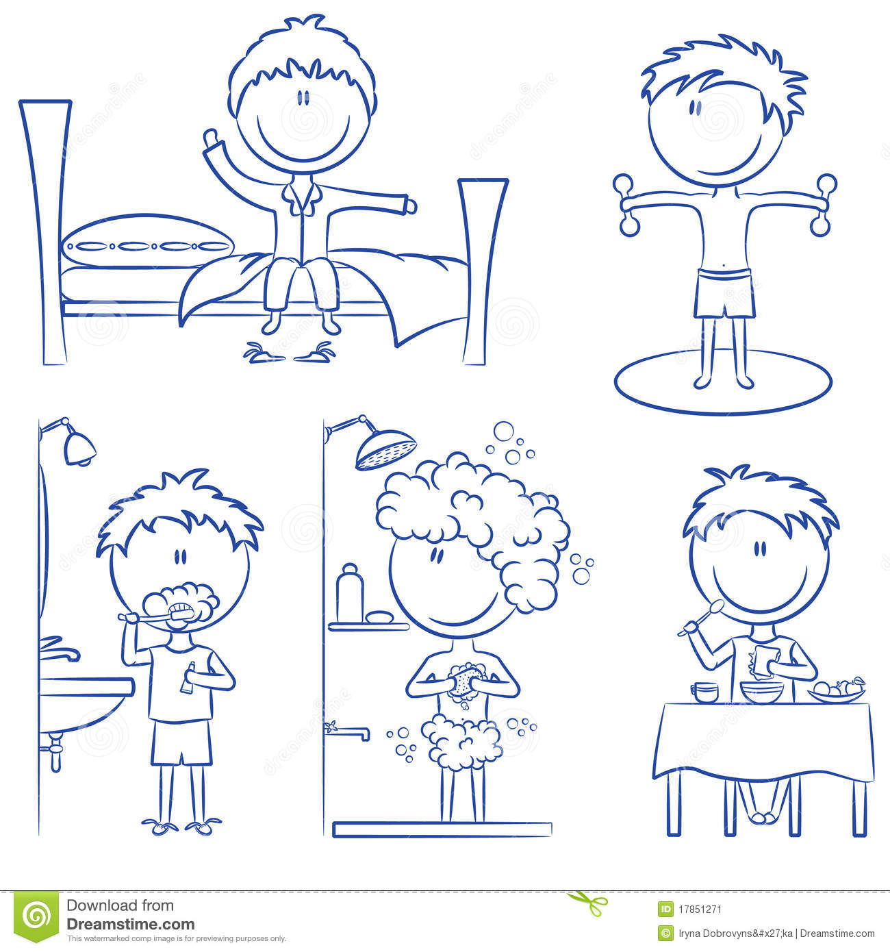 Daily Morning Boys Life Stock Vector Image Of Chair