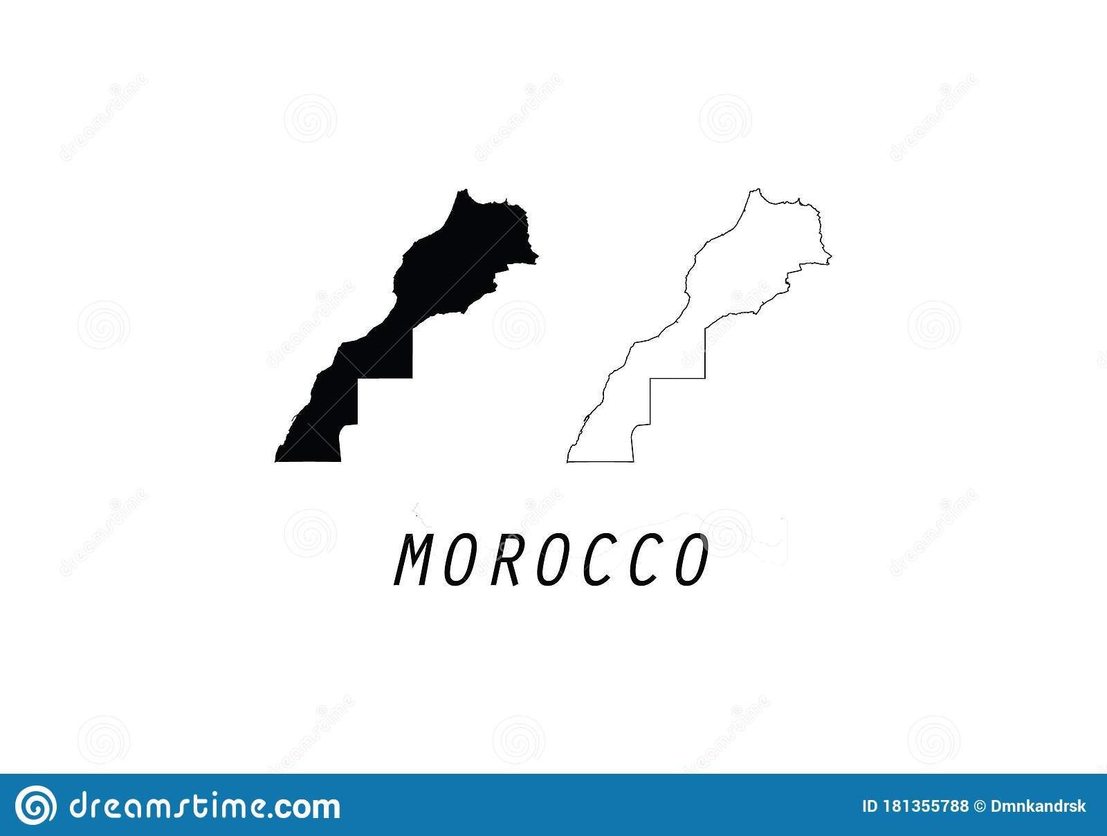 Morocco Outline Map Country Shape Stock Vector Illustration Of Flag Africa 181355788
