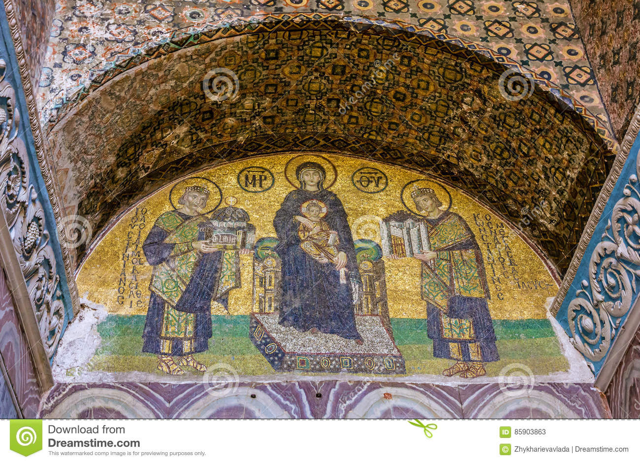 Mosaic Icon In Hagia Sophia Istanbul Turkey Virgin Mary And S Editorial Stock Photo