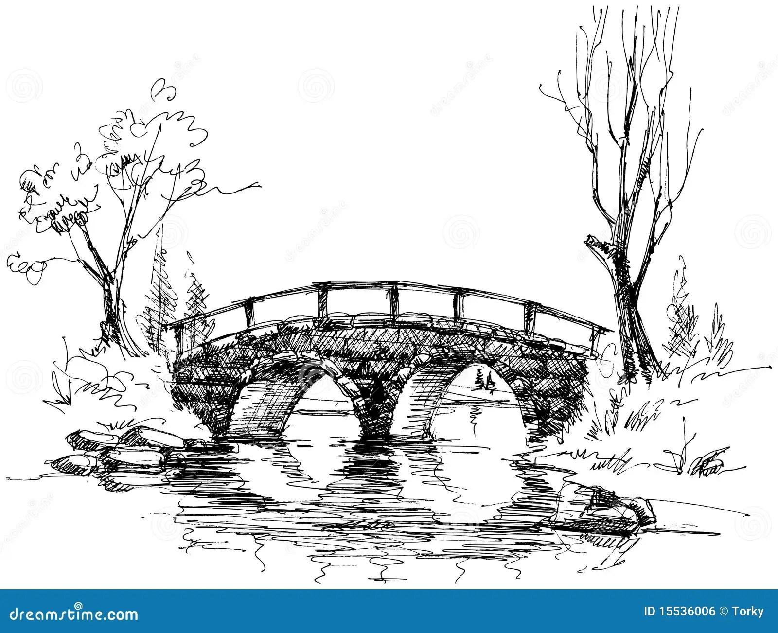 Most Nad Rzeka Kamieniem Ilustracja Wektor Ilustracja