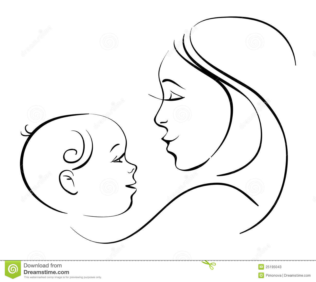 Mother And Baby Stock Vector Illustration Of Outline