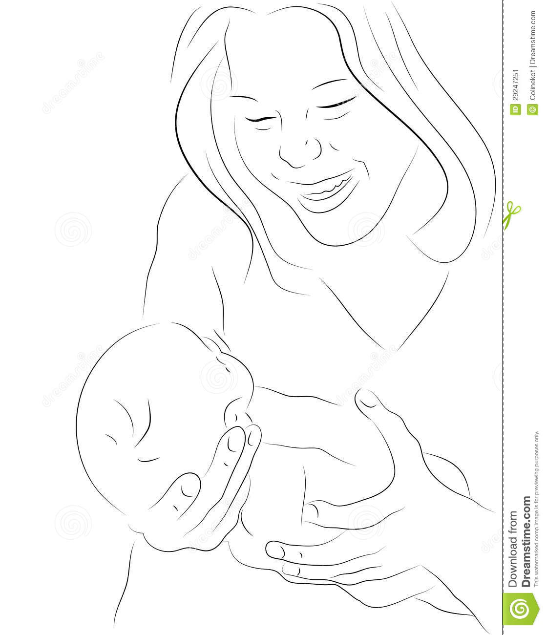 Mother And A Baby Sketch Stock Vector Illustration Of