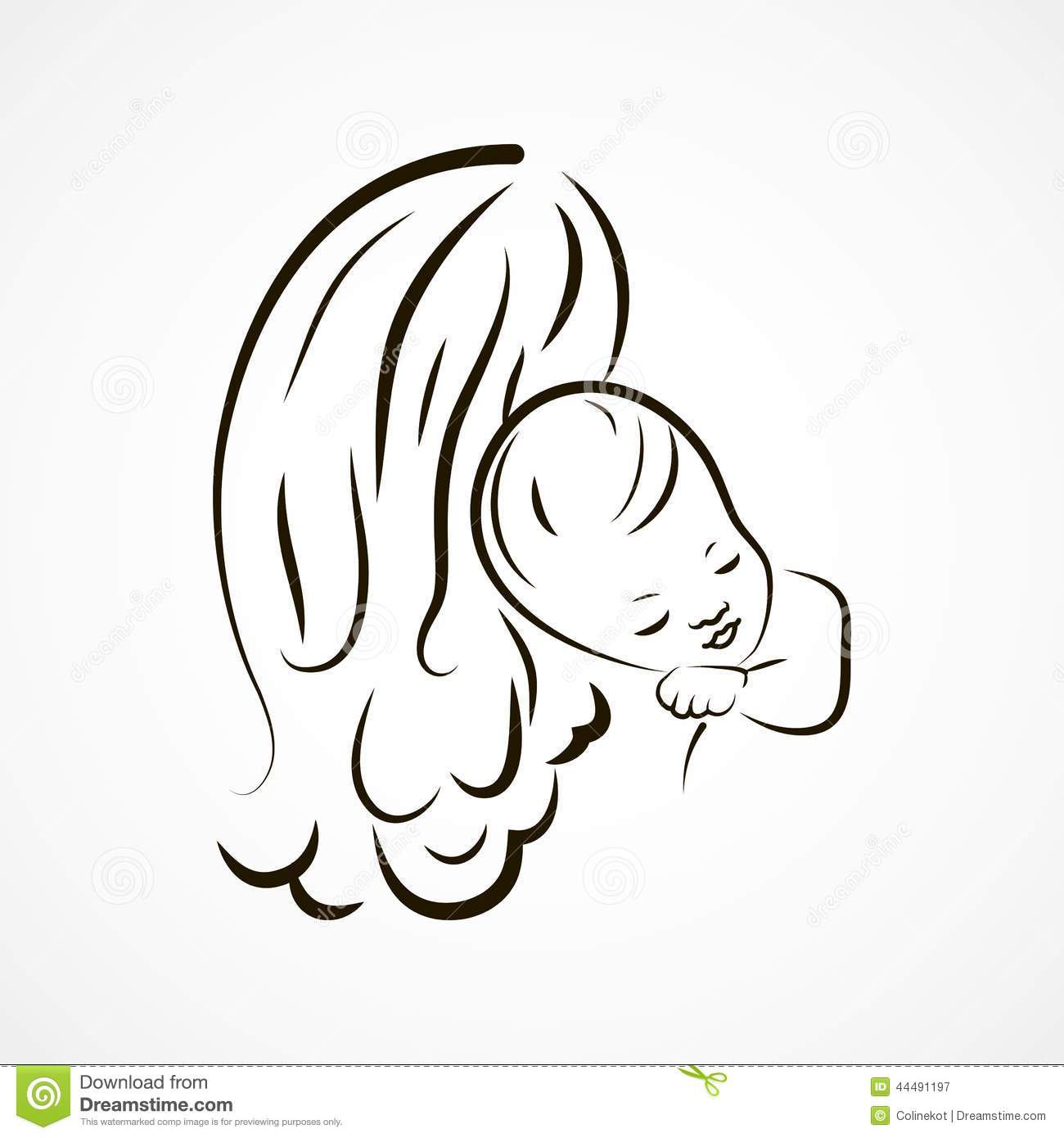 Mother And Baby Sketch Stock Vector Illustration Of