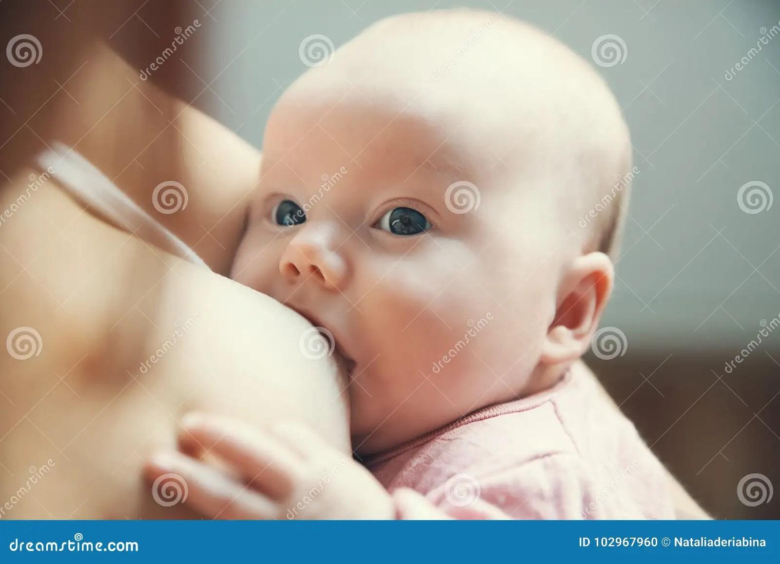 Mother Breastfeeding Newborn Baby Child Stock Photo