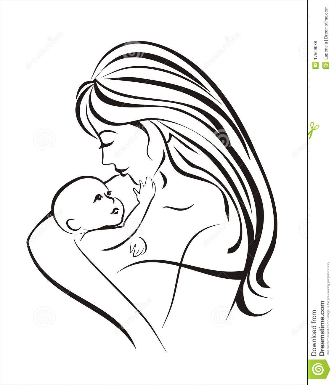 Mother And Child Sketch In Black Lines Stock Vector