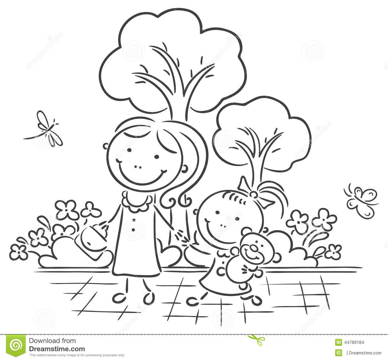 Mother And Daughter Walking In The Park Stock Vector