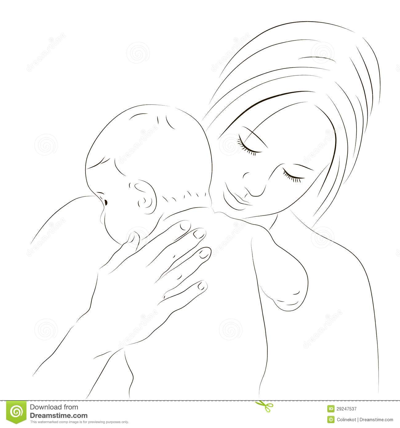 Mother And Newborn Sketch Stock Vector Illustration Of