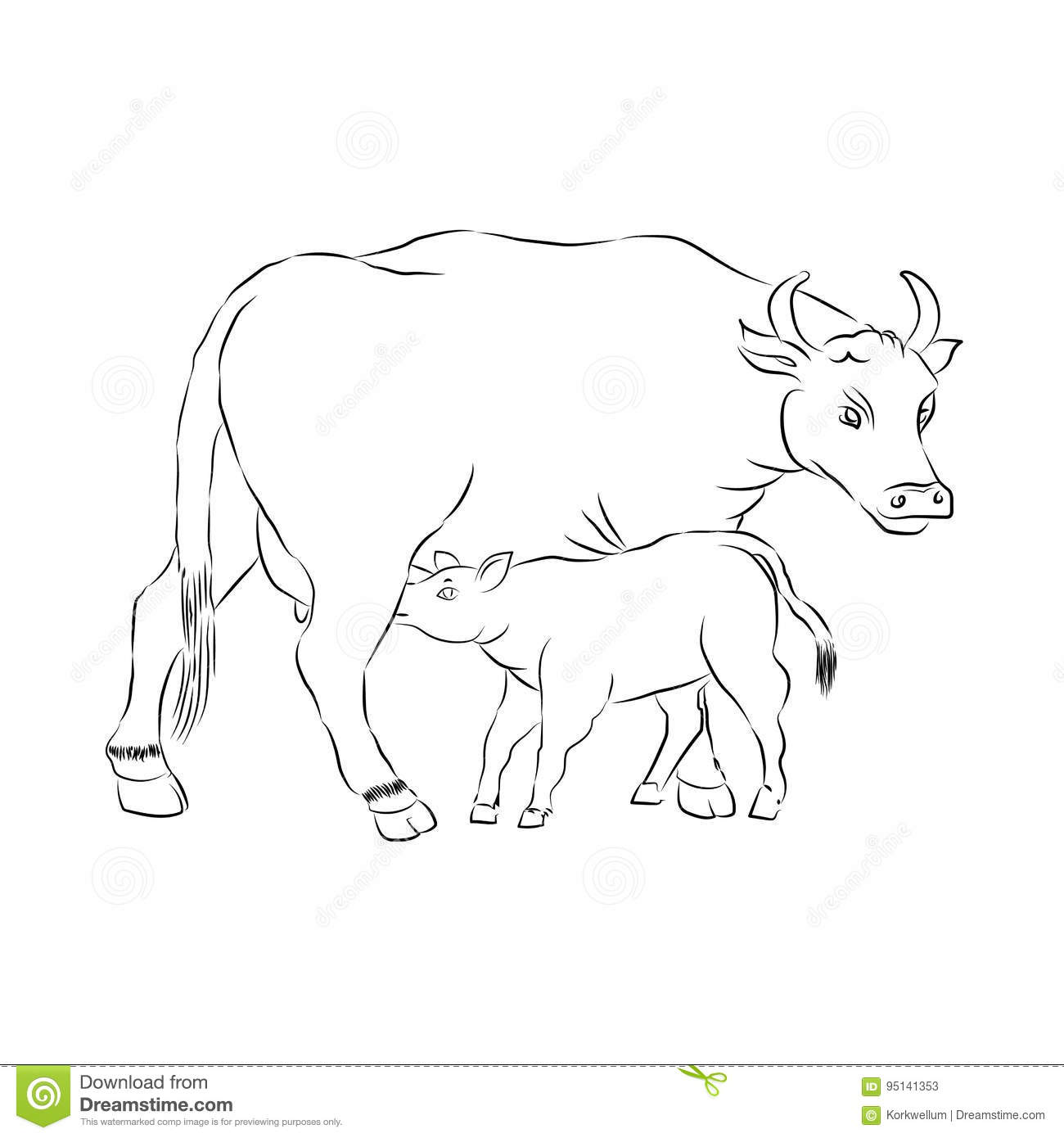 Motherhood Mother And Child Cow And Calf Outline Vector
