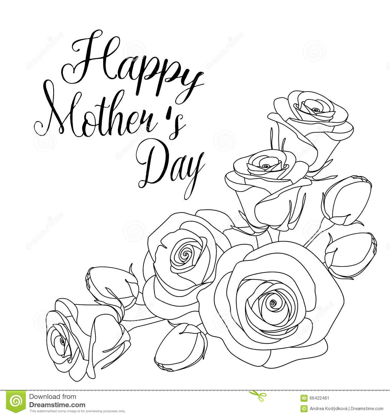 Mothers Day Greeting Card With Roses Coloring Page For