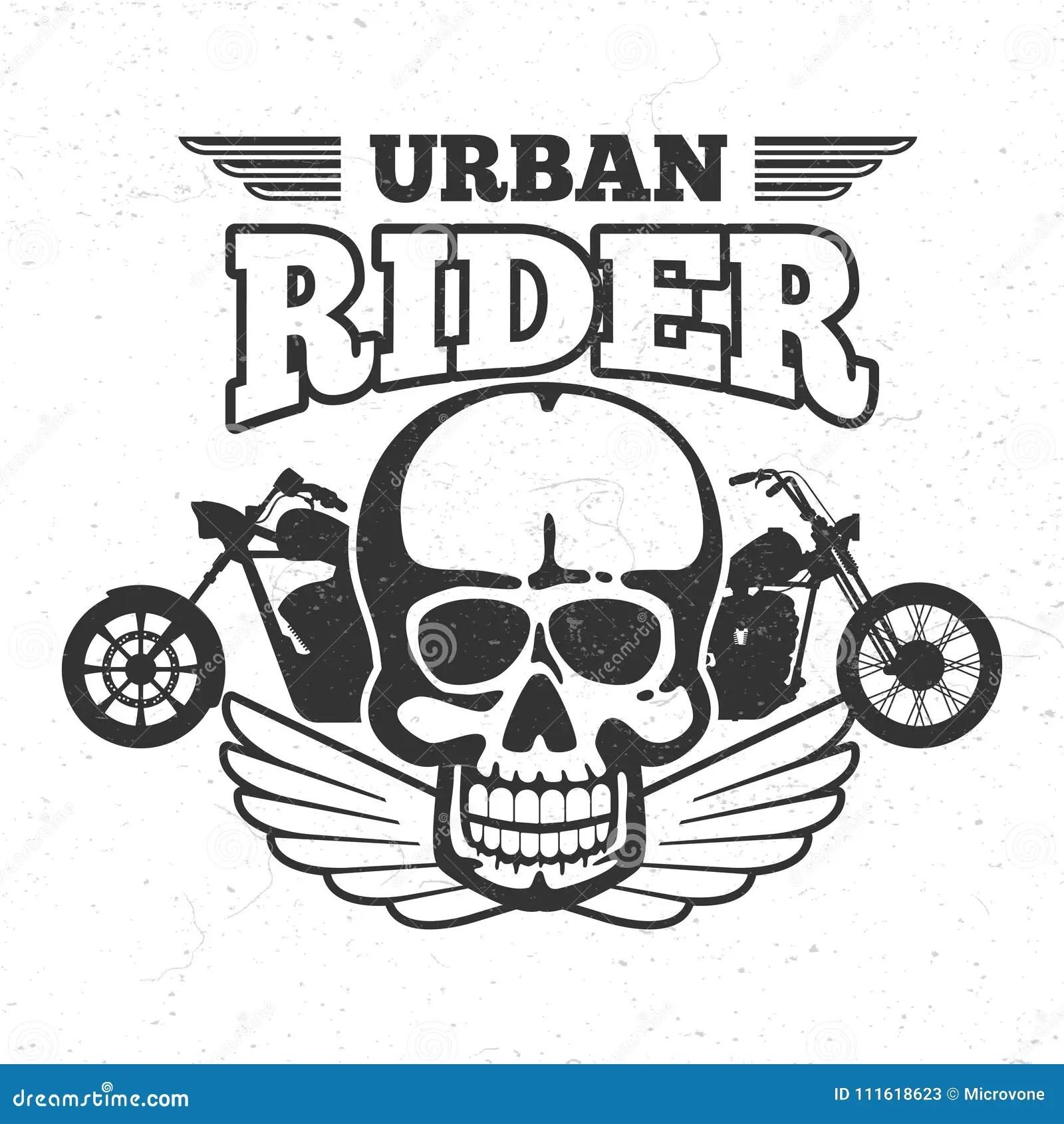 Motorbike Club Vintage Embem With Motorcycle And Skull