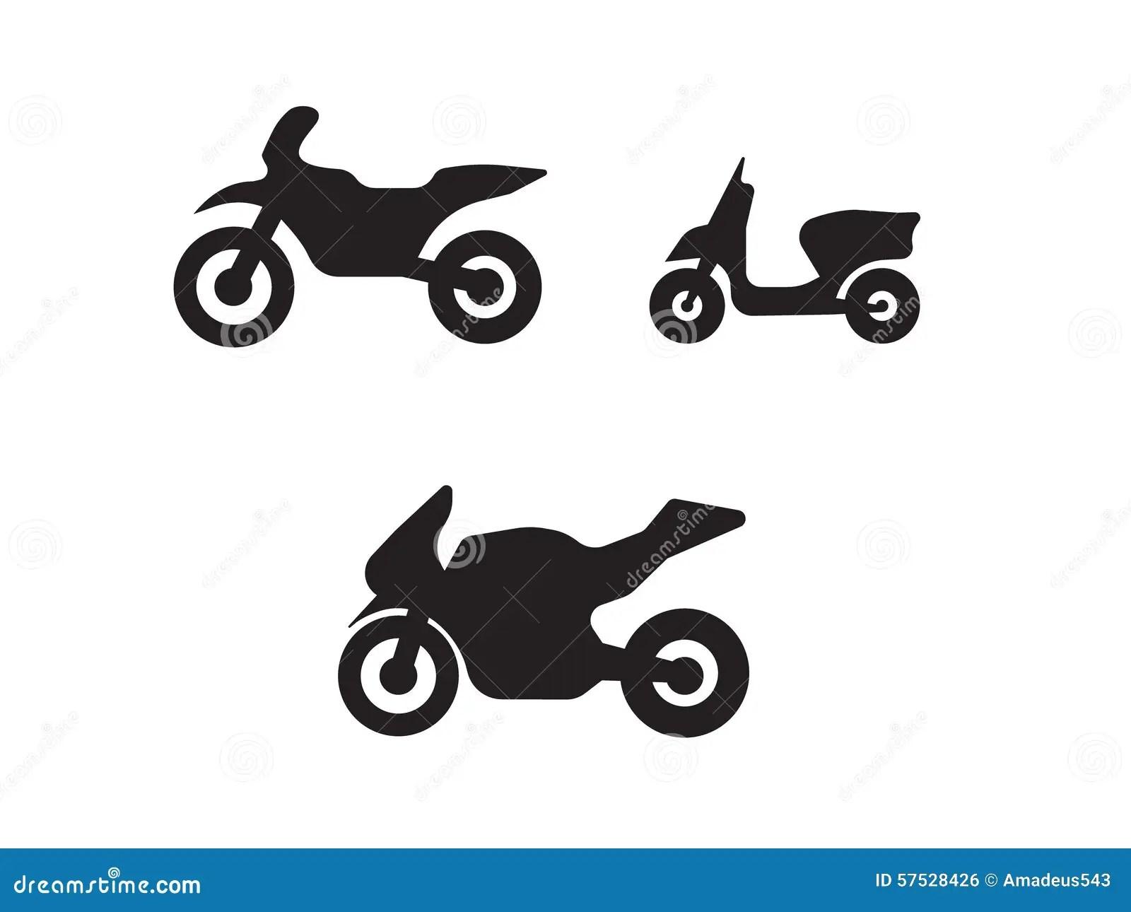 Motorbike Motorcycle Symbols In Black Silhouette Stock