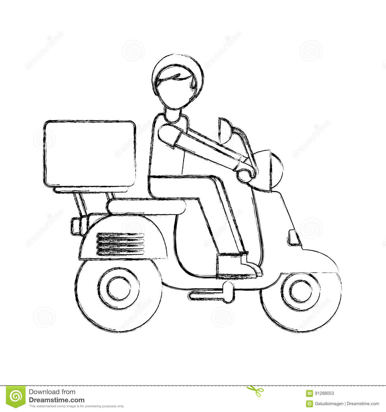 Motorcycle Delivery Vehicle Icon Stock Vector