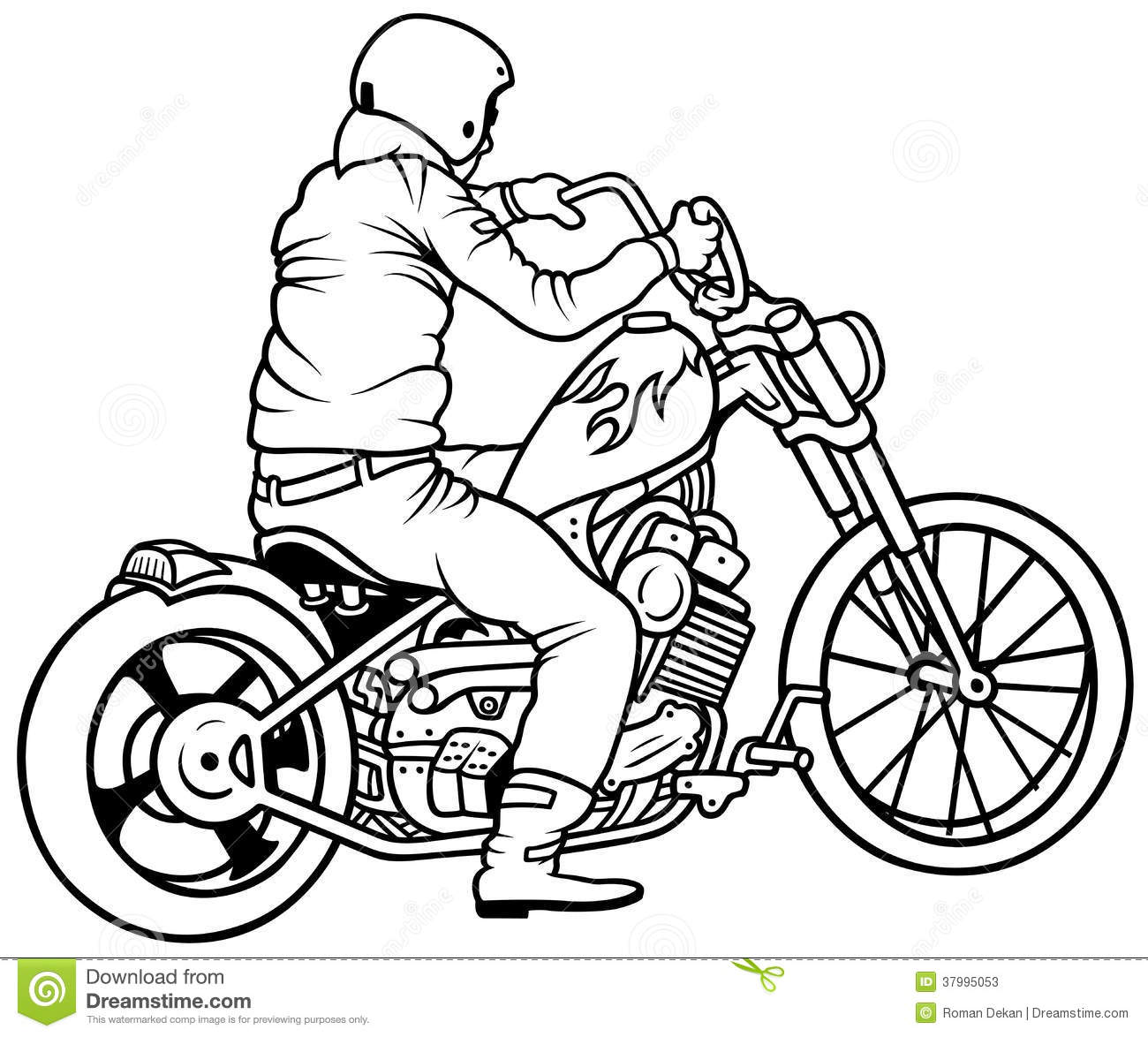 Motorcycle And Driver Stock Vector Illustration Of Vector