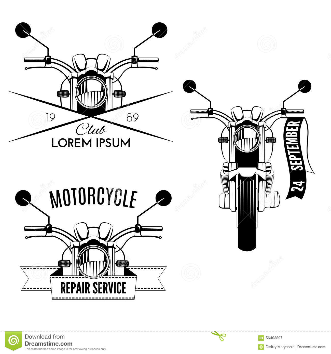 Motorcycle Icons Stock Vector