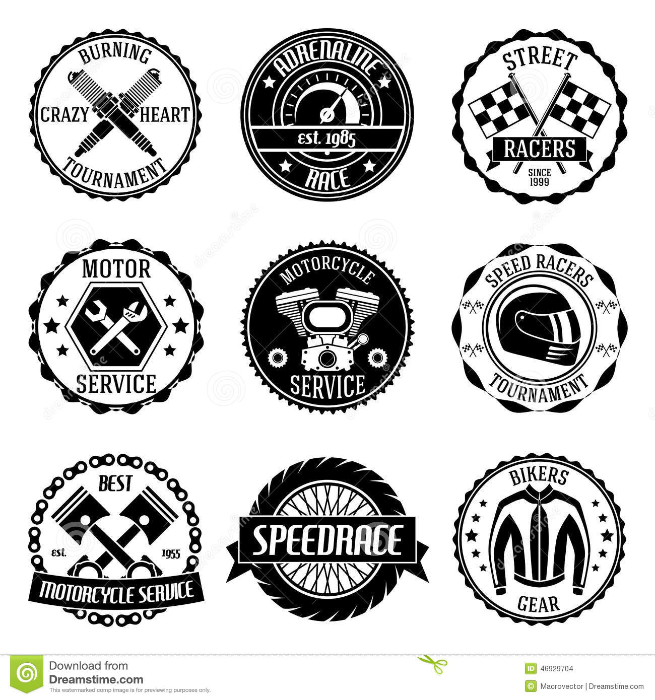 Motorcycle Racings Emblems Stock Vector Illustration Of Service