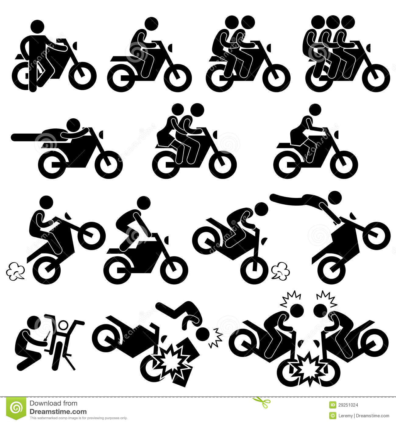 Motorcycle Stunt Man Daredevil People Stick Figure Stock