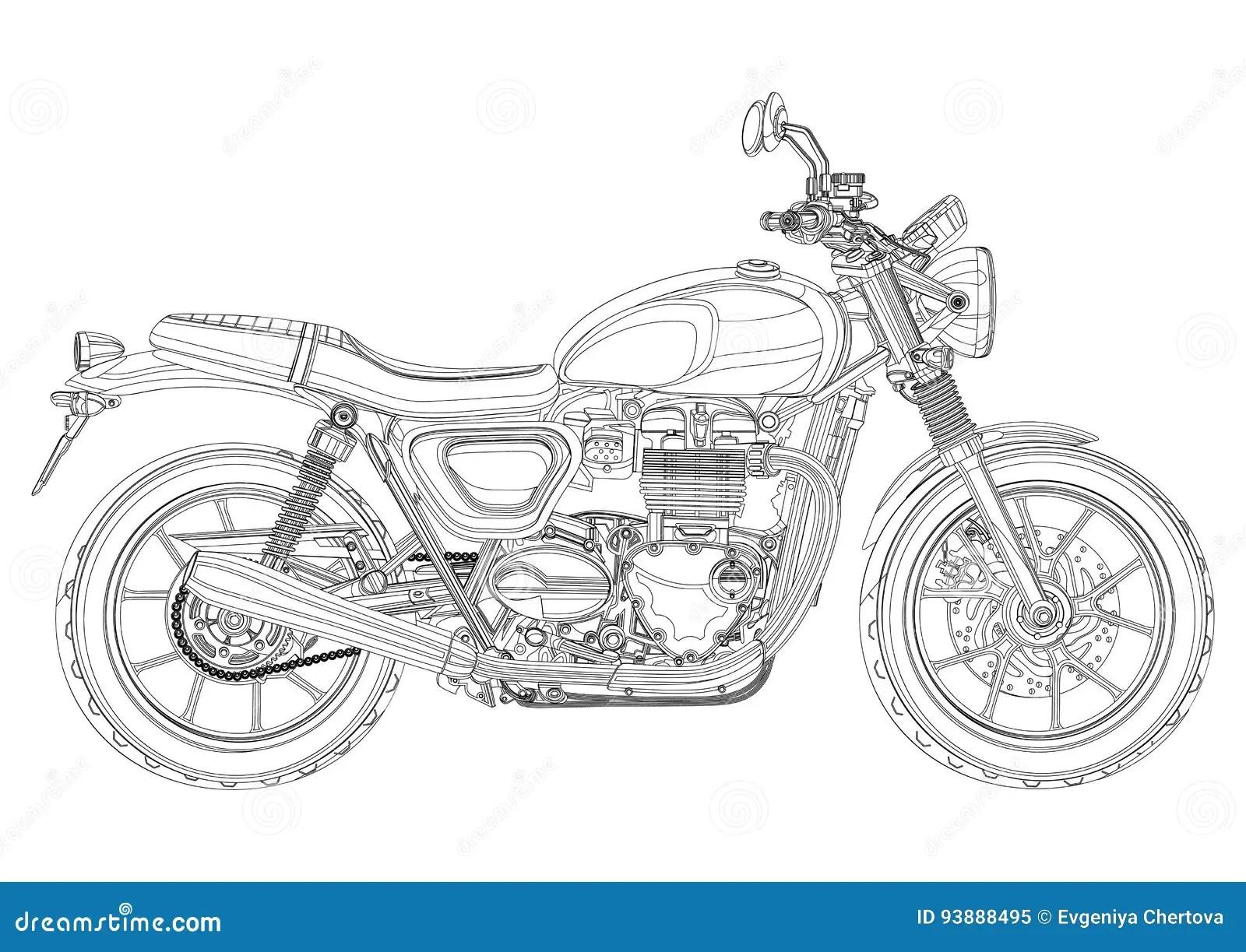 Motorcykelvektorn Monokrom Som Ar Svartvit Skissar