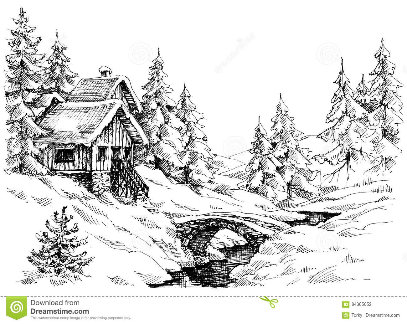 Mountain Cabin In The Woods Near River Stock Vector
