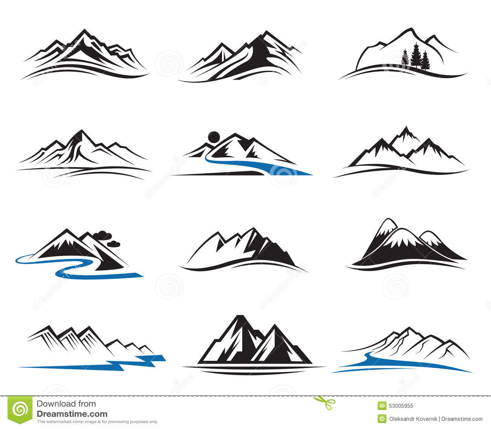 Mountain Icons Set Stock Vector Illustration Of Logo