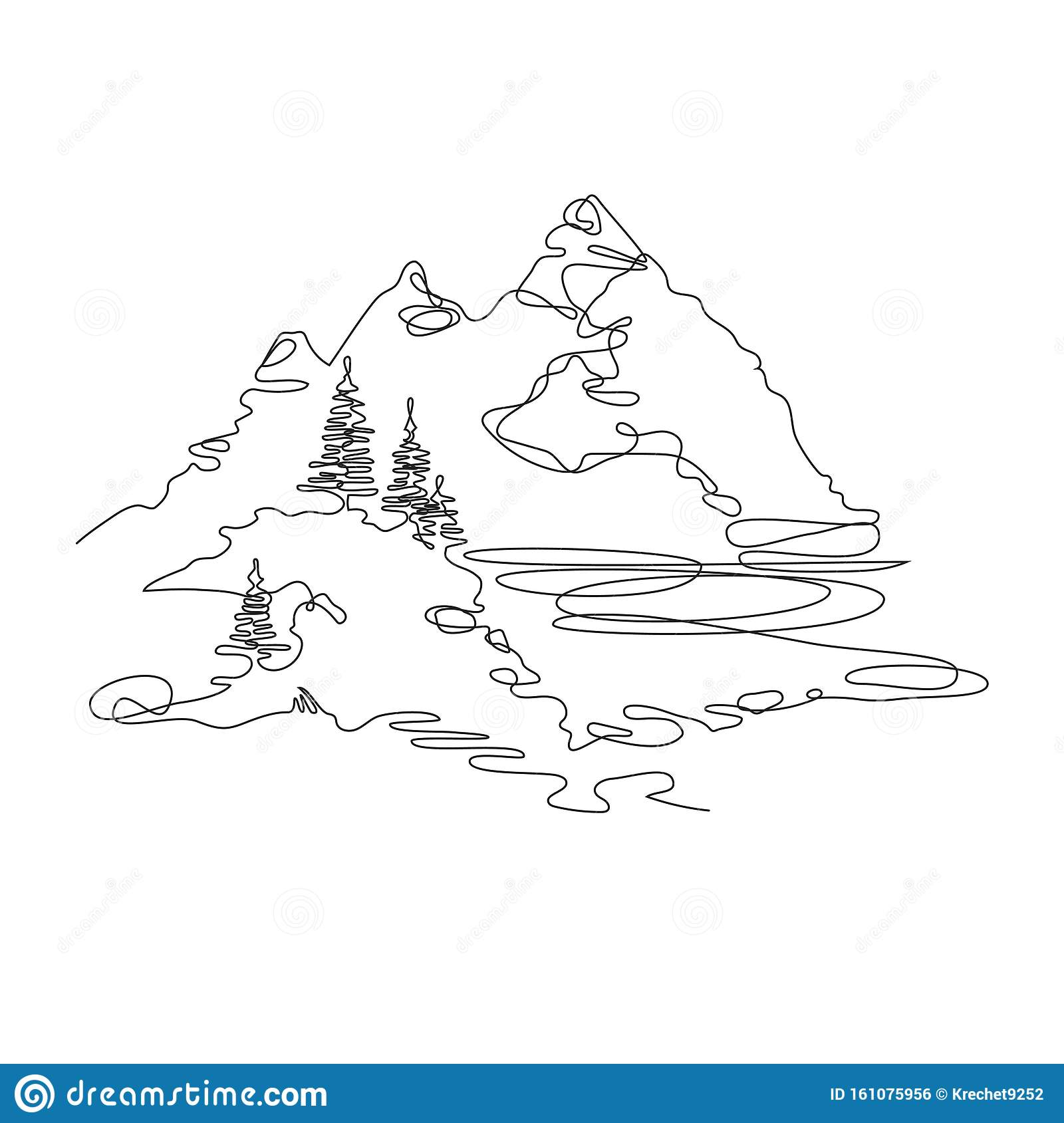 Mountain Landscape Drawn In One Line Continuous Line