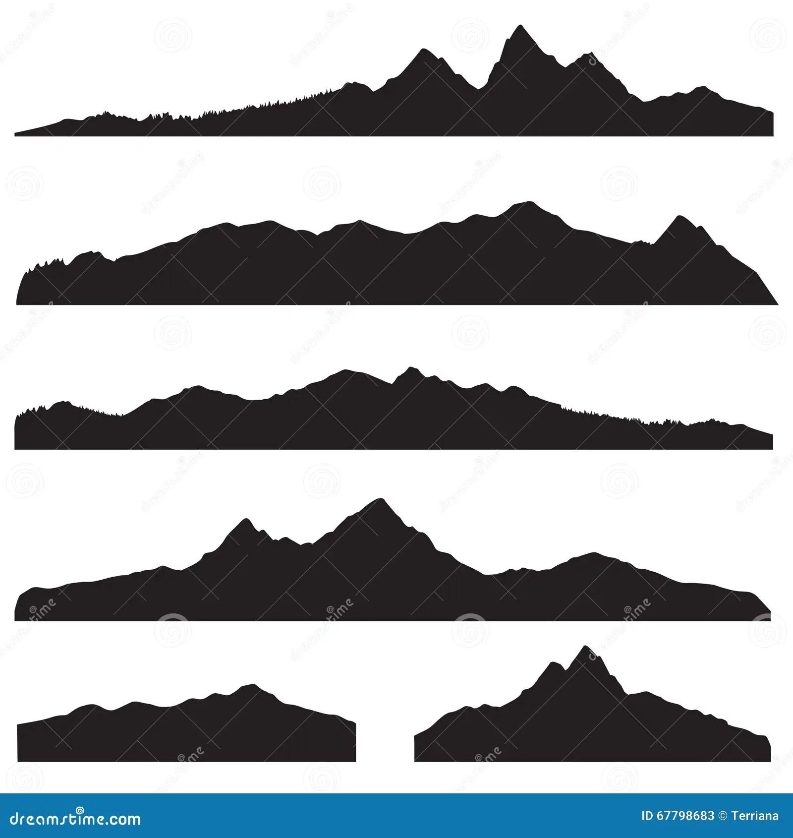 Mountains Landscape Silhouette Set High Peak Mountain
