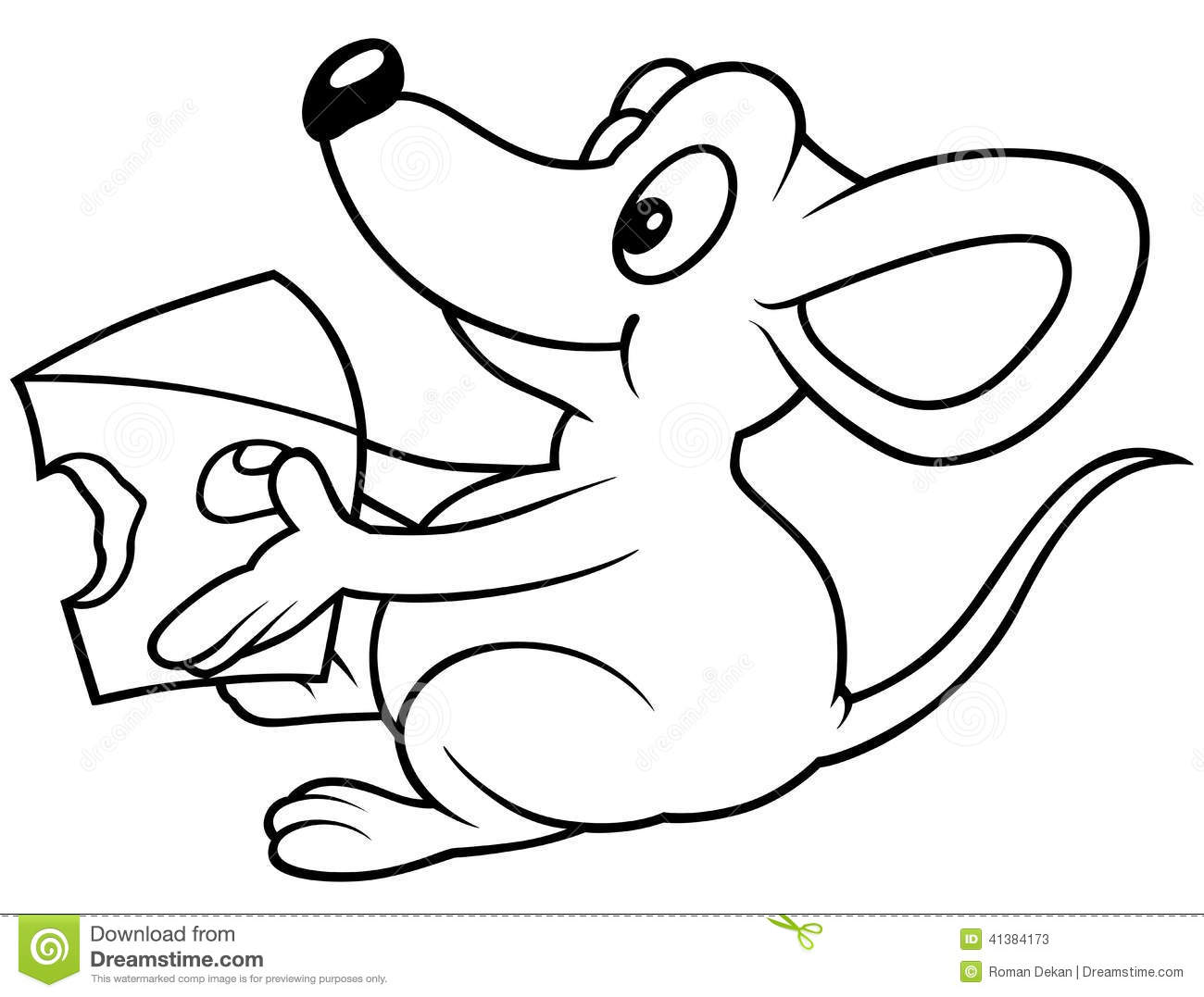 Mouse Holding Cheese Stock Vector Illustration Of Drawing