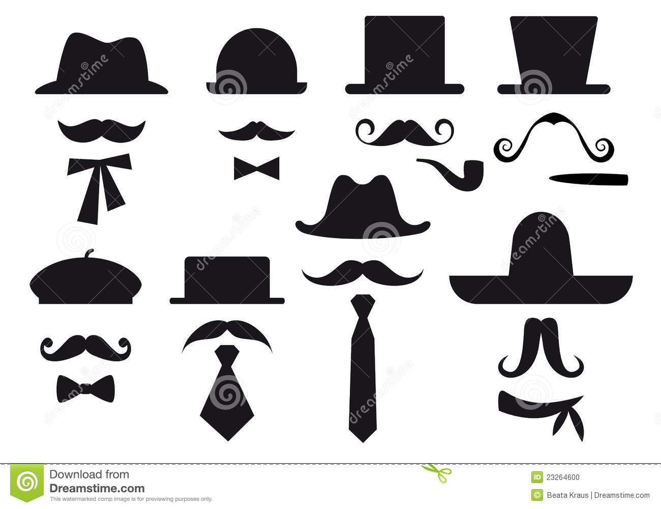 Moustache And Hats Vector Set Stock Vector Image 23264600