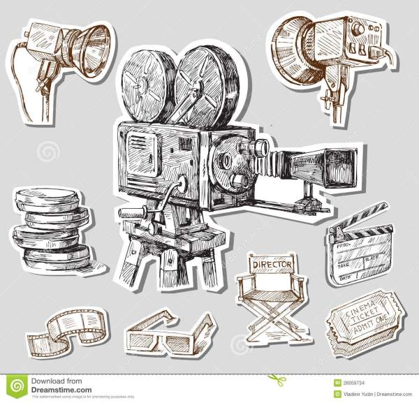 Movie camera-hand drawn stock vector. Image of history ...