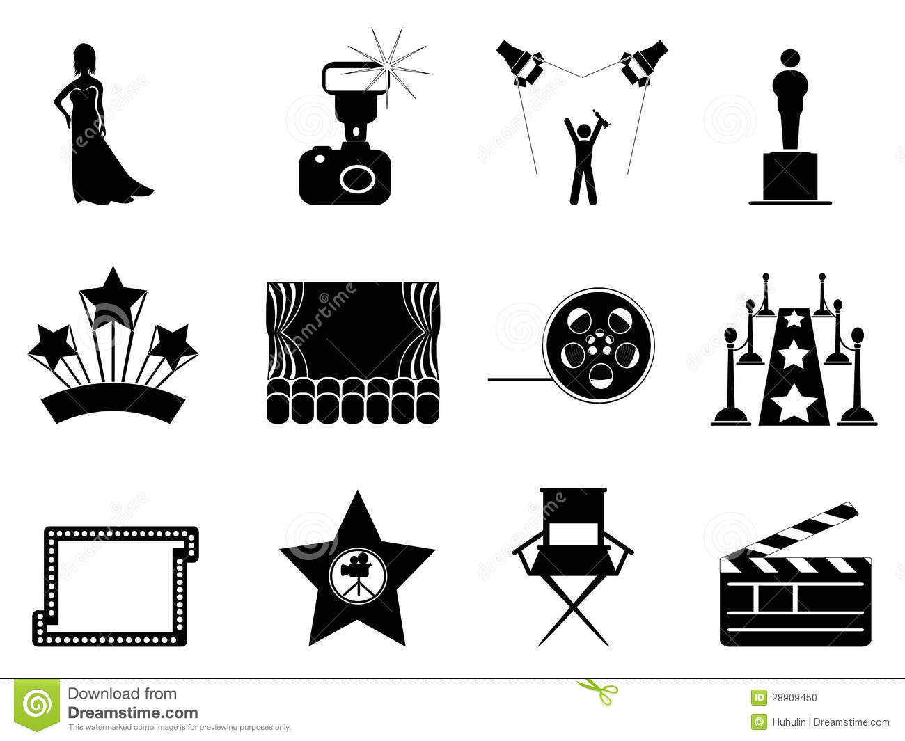 Movie And Oscar Symbol Icons Stock Vector