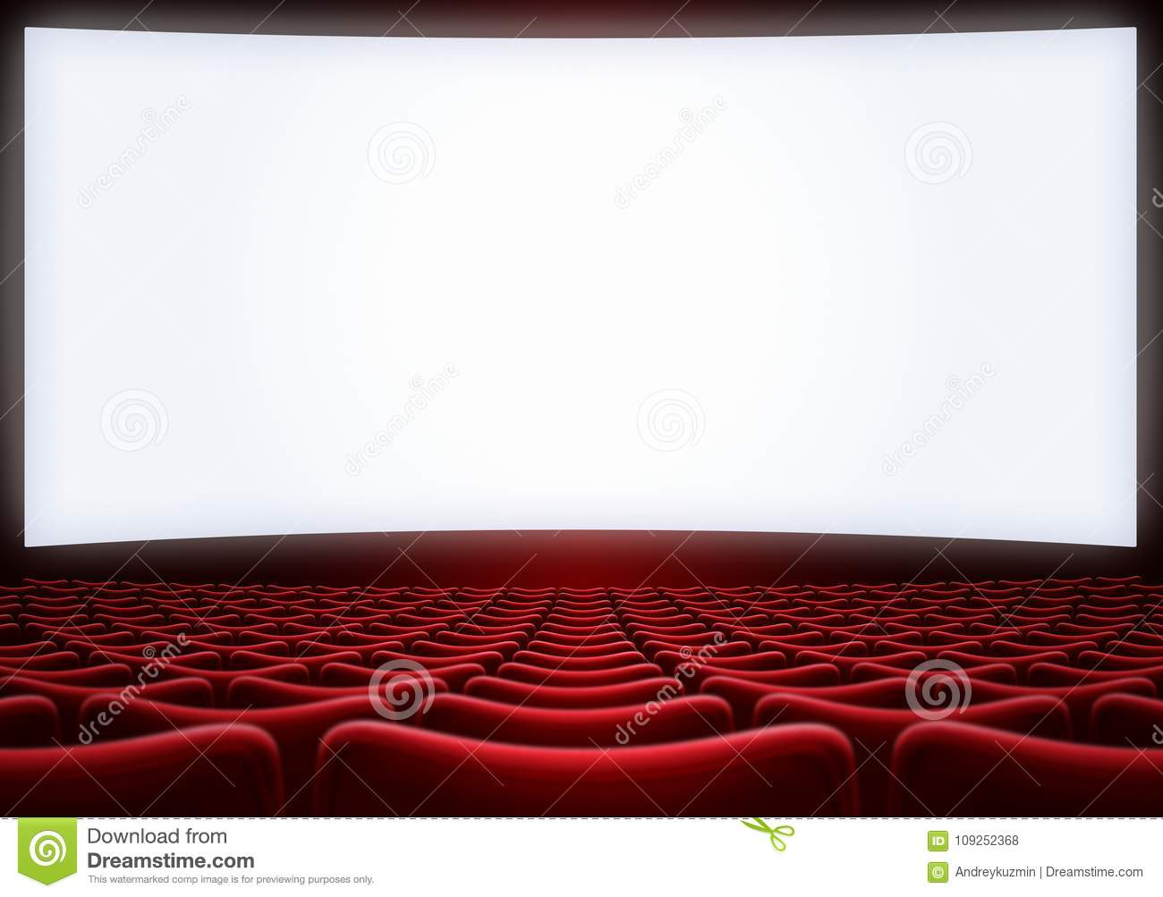Movie Theater Screen With Red Seats 3d Illustration Stock Photo Image Of Movie Armchair 109252368