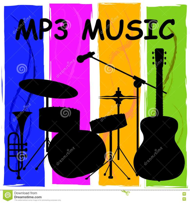 mp3 music showing melody listening and sound track stock