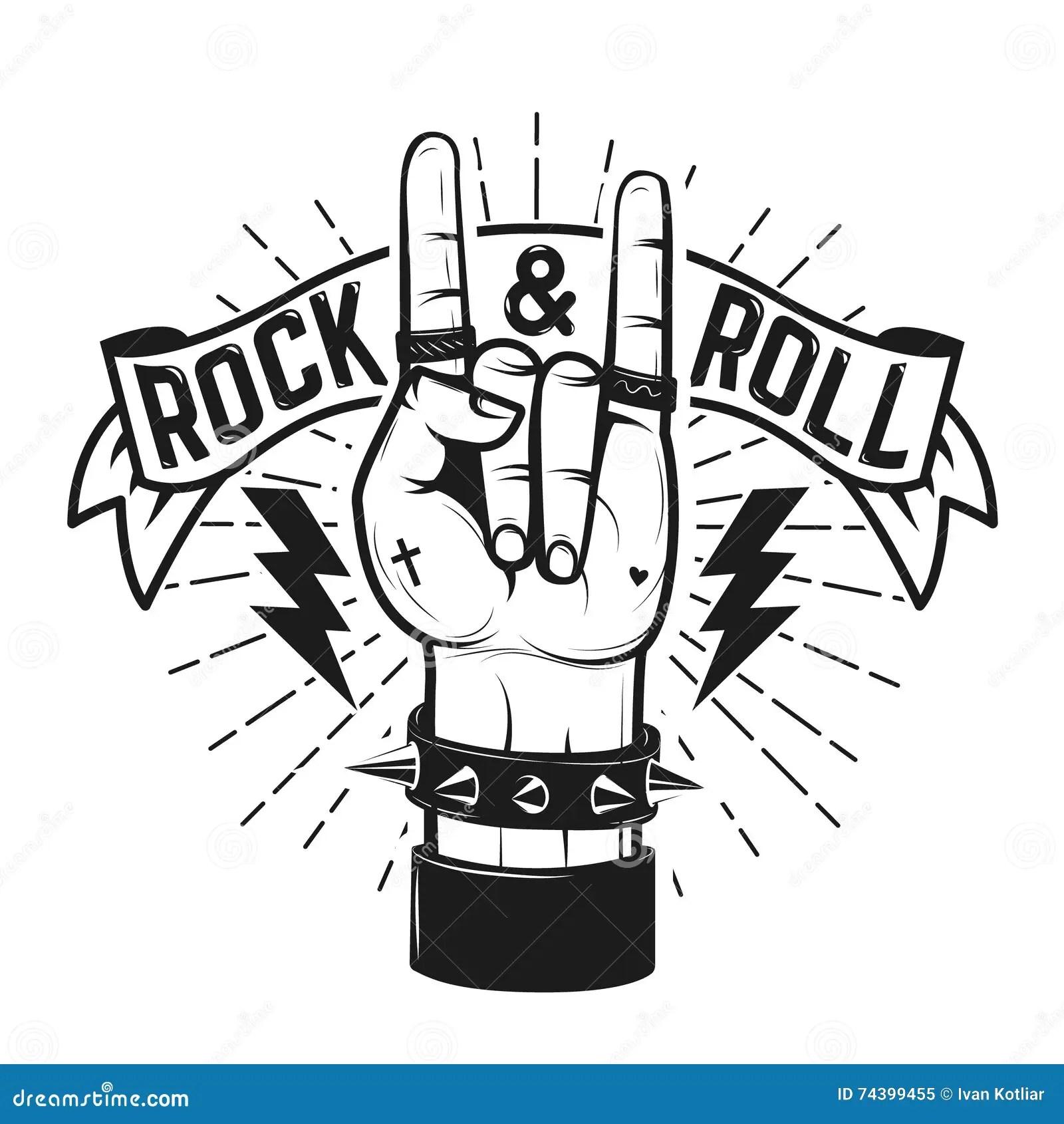 Muestra Del Rock And Roll Mano Humana Con La Muestra De