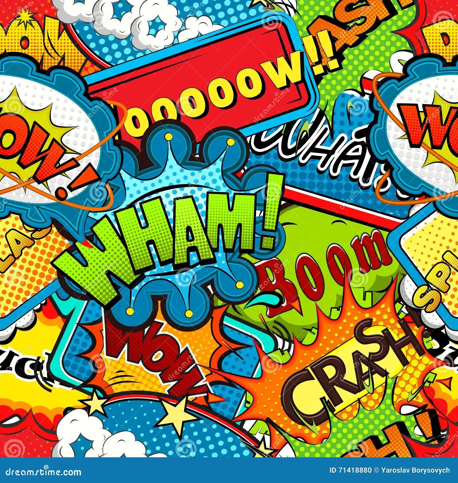 Multicolored Comics Speech Bubbles Seamless Pattern Vector