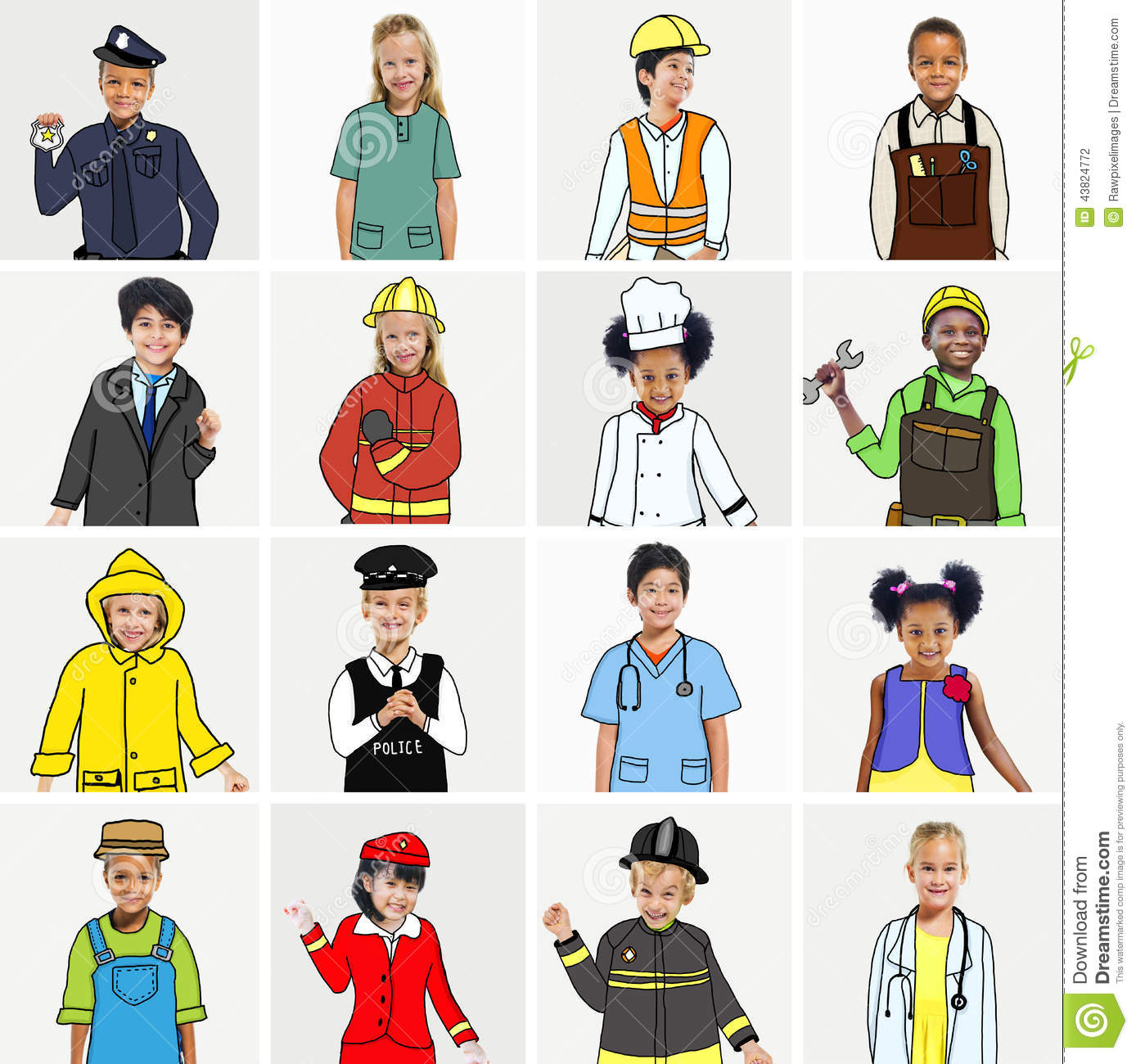Multiethnic Group Of Children With Dream Jobs Concepts