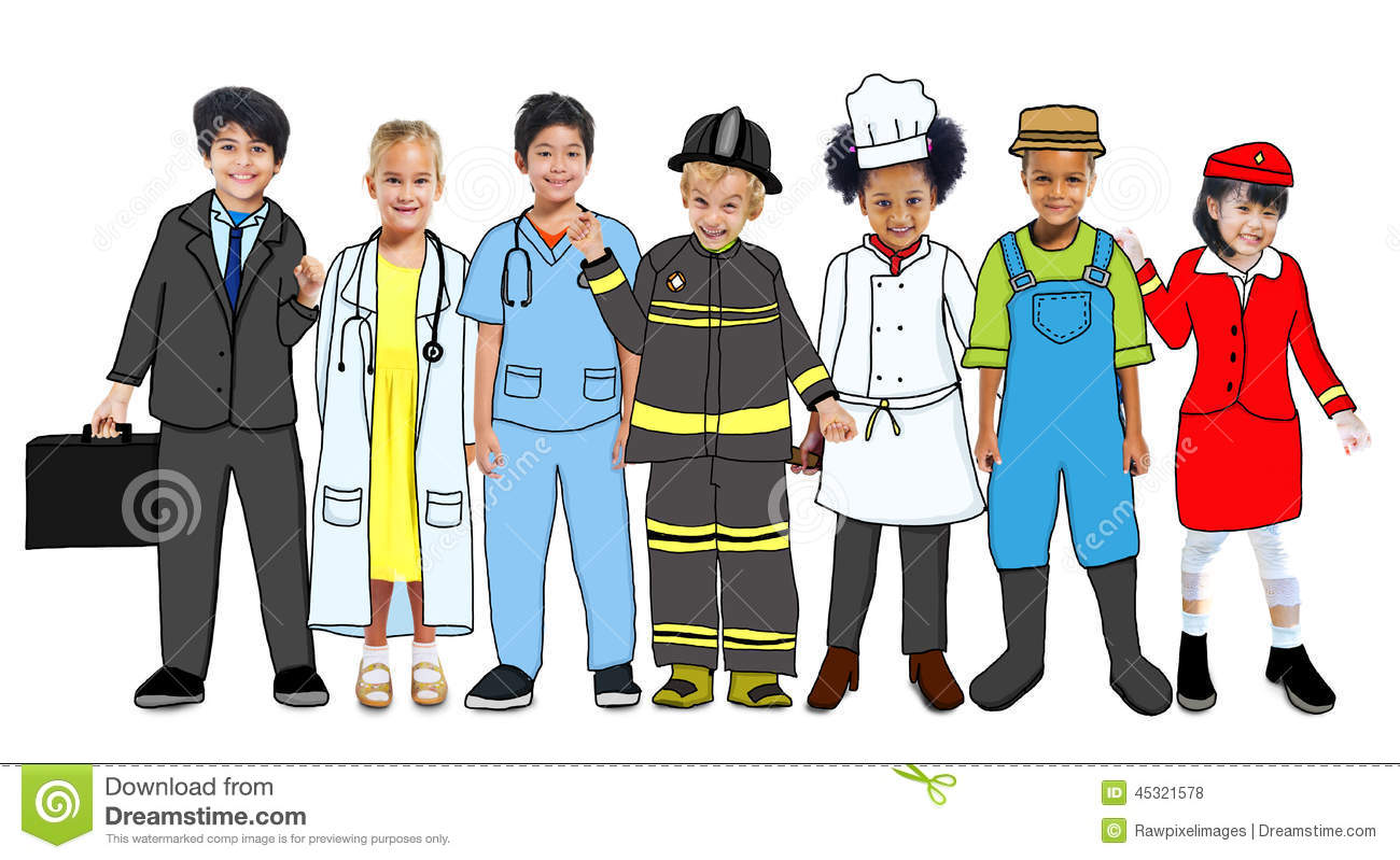 Multiethnic Group Of Children With Future Career Uniforms
