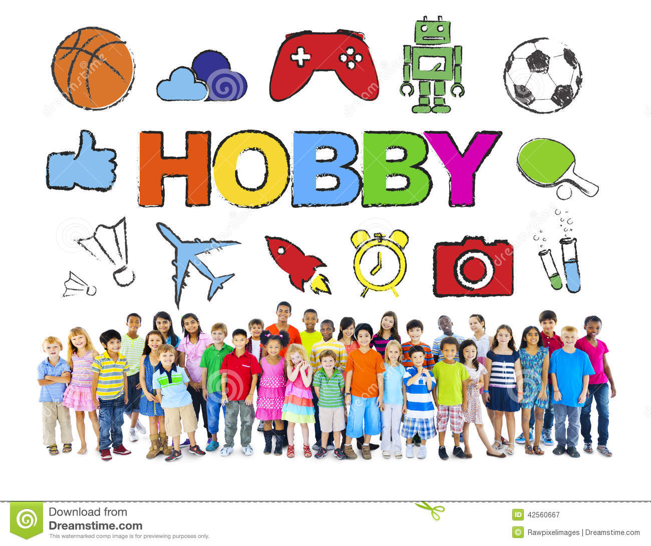 Multiethnic Group Of Children With Hobby Concept Stock