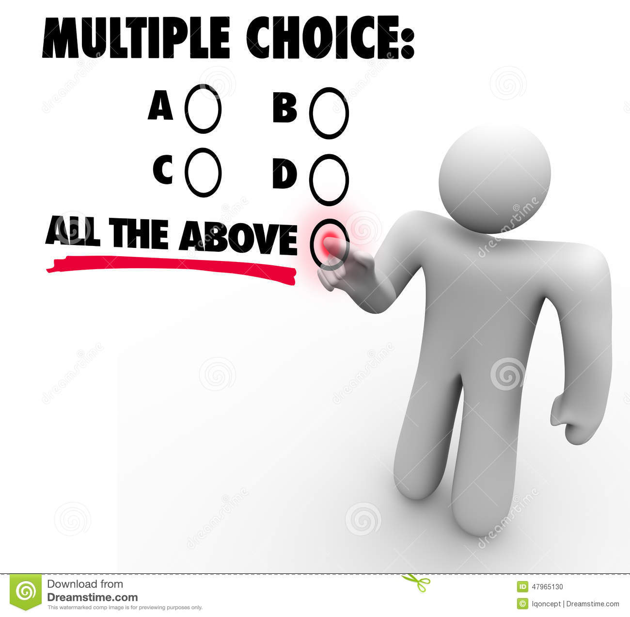 Multiple Choice All The Above Options Test Quiz Uncertainty Gues Stock Illustration