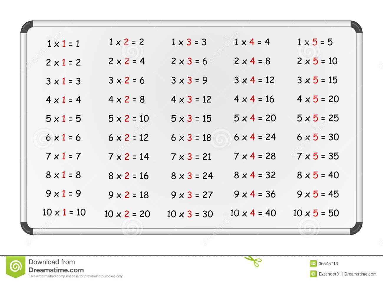 Multiplication Table On Whiteboard Part 1 Stock Photos