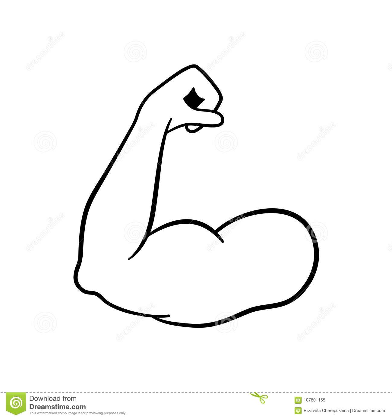 Muscle Icon Strong Power Muscle Arm Vector Icon Biceps