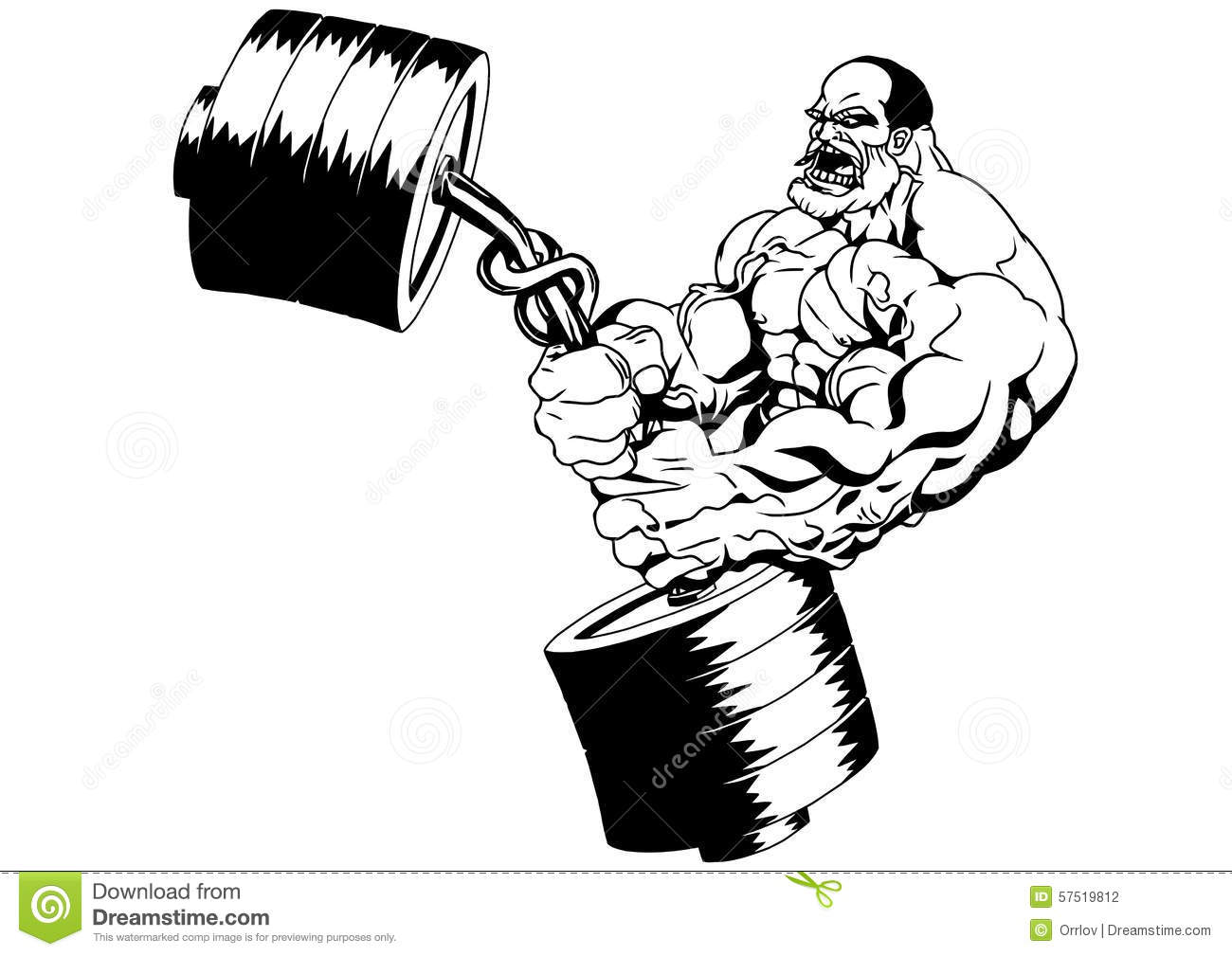 Muscular Bodybuilder Flexes The Weight Stock Vector