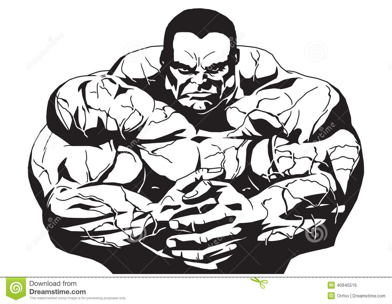 Muscular Bodybuilder Stock Vector Illustration Of Outline