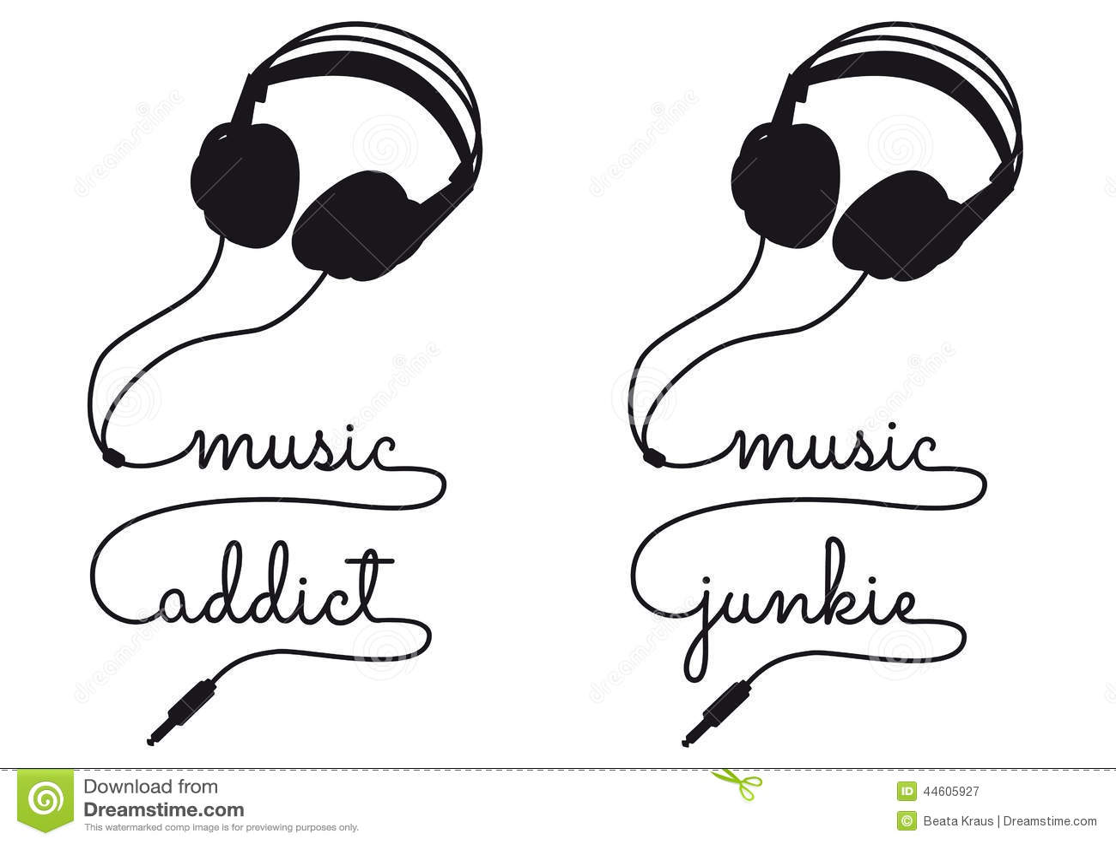 Music Addict Vector Headphone Stock Vector
